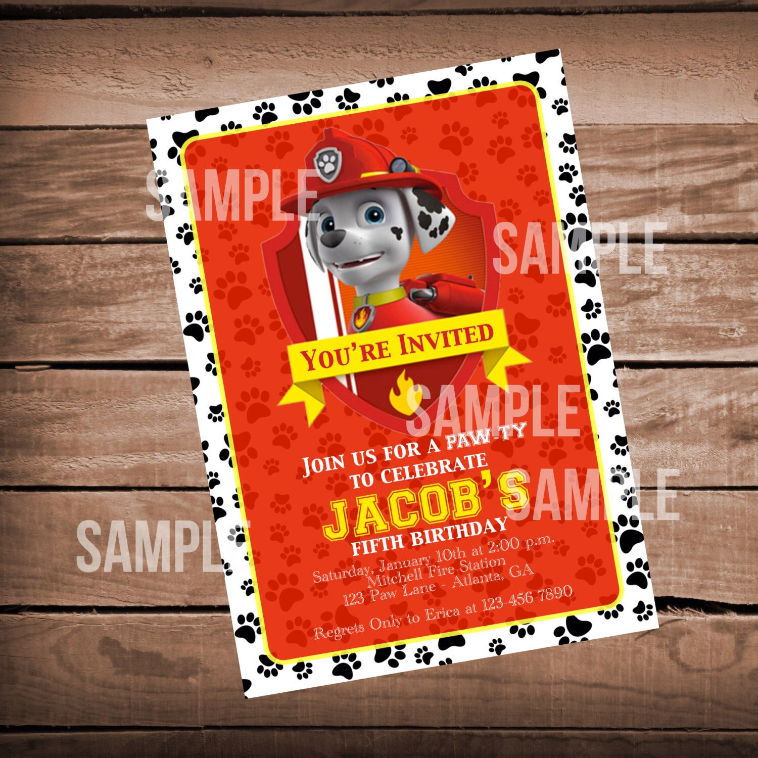 Paw Patrol Birthday Invitation with Marshall Fire and Rescue, Puppy ...