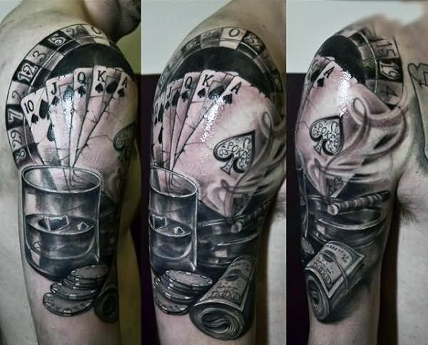 04b569457087d Gambling Money Tattoo On Man Right Half Sleeve | Ink | Money tattoo ...