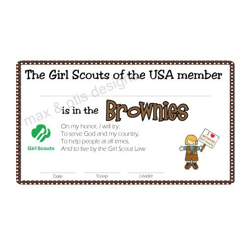 Printable Girl Scout Membership Card for Brownies #girlscouts - printable membership cards