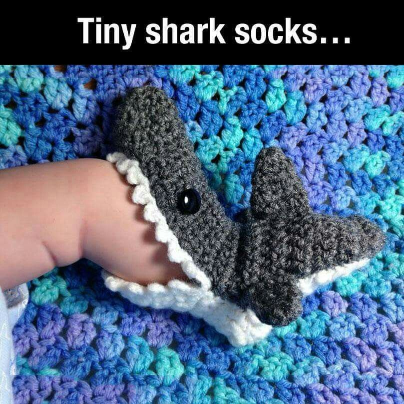 Tiny shark socks / booties for baby. Too too cute! | Knit & Crochet ...