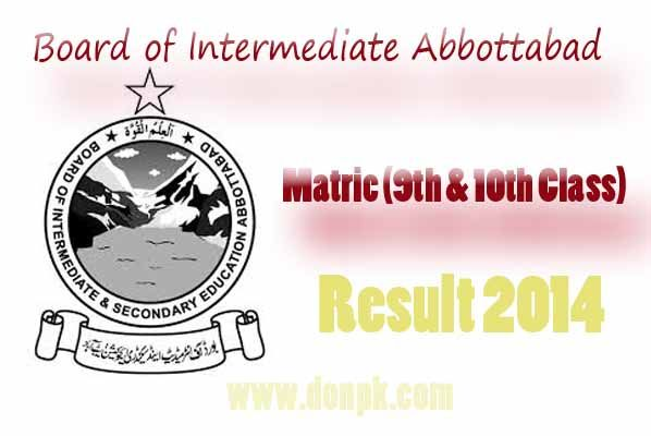 BISE Abbottabad 9th And 10th Class Result On Donpk