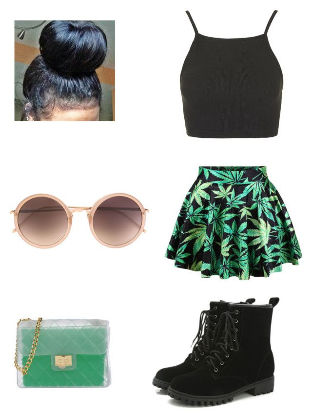 """""""Weed"""" by pizzarollz ❤ liked on Polyvore featuring Chicnova Fashion, Topshop, Design Inverso and Linda Farrow"""