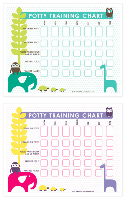 Free Potty Training Charts download! Print on 8.5 x 11 paper or card stock and put on the wall next to the child's potty. Let them pick small stickers that they will get every time they do a task on the chart. This really helped when I was toilet training my daughter. #potty #toilet #training