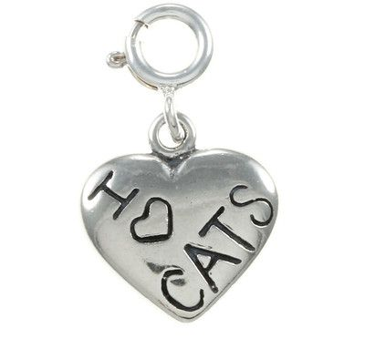 Sterling Silver 'I Love Cats' Heart Charm