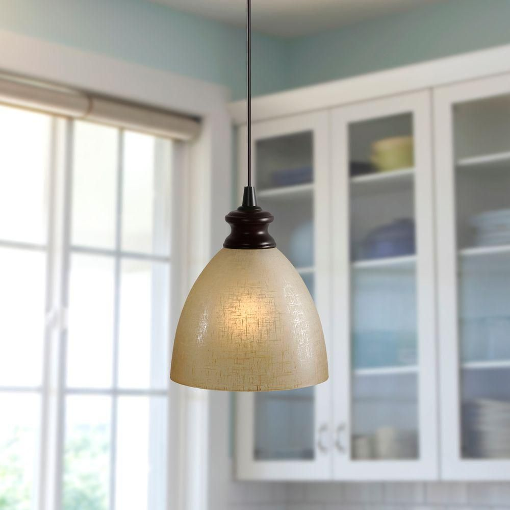 Worth Home Products Instant Pendant 1 Light Recessed Light Conversion Kit Brushed Bronze Linen Glass Shade Pbn 6032 Screw In Pendant Light Recessed Light Conversion Kit Pendent Lighting
