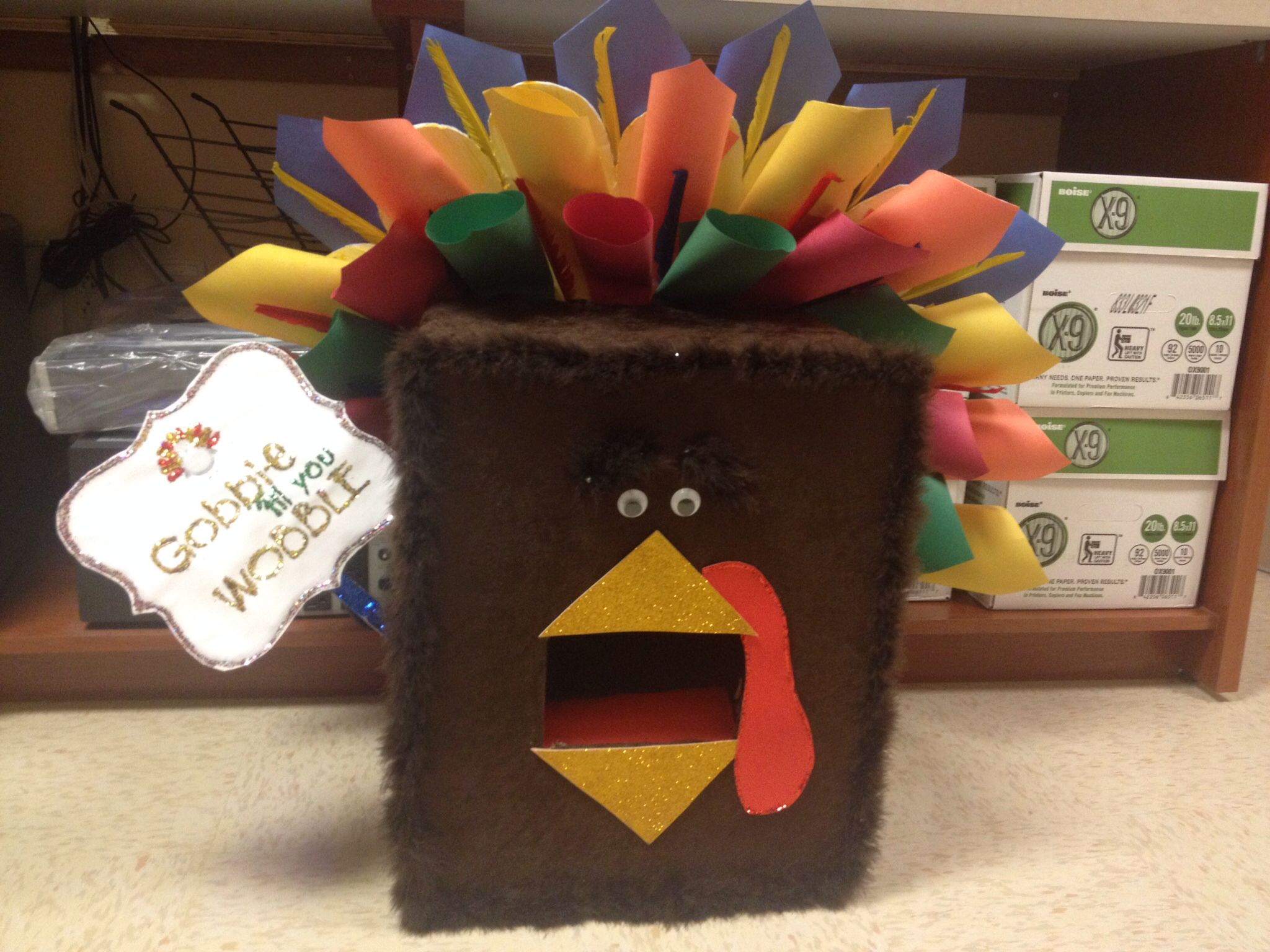 Box to collect food during thanksgiving food drive! Food