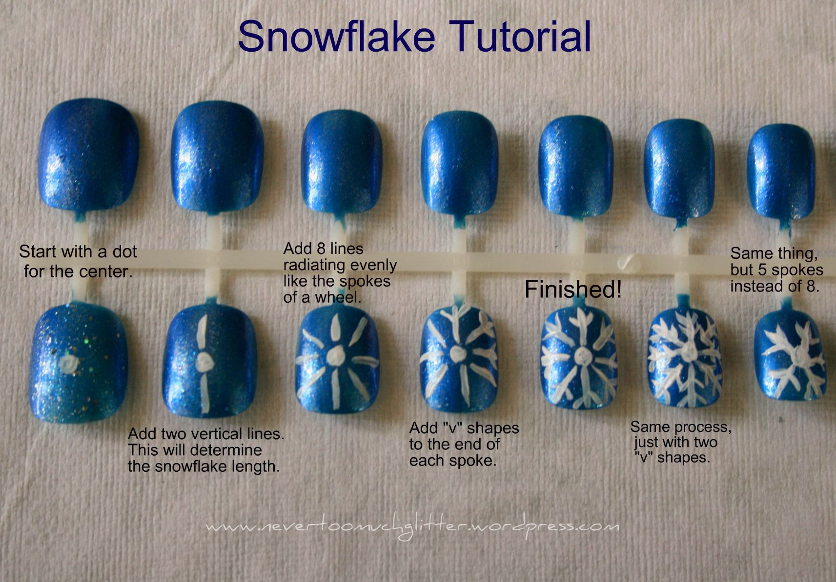 How to draw a snowflake on nails: instruction 51