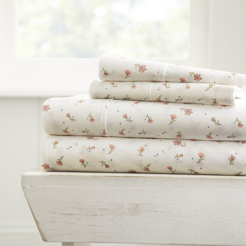 Soft Floral Patterned 4 Piece Sheet Set Bed Sheet Sets Microfiber Sheets Sheet Sets