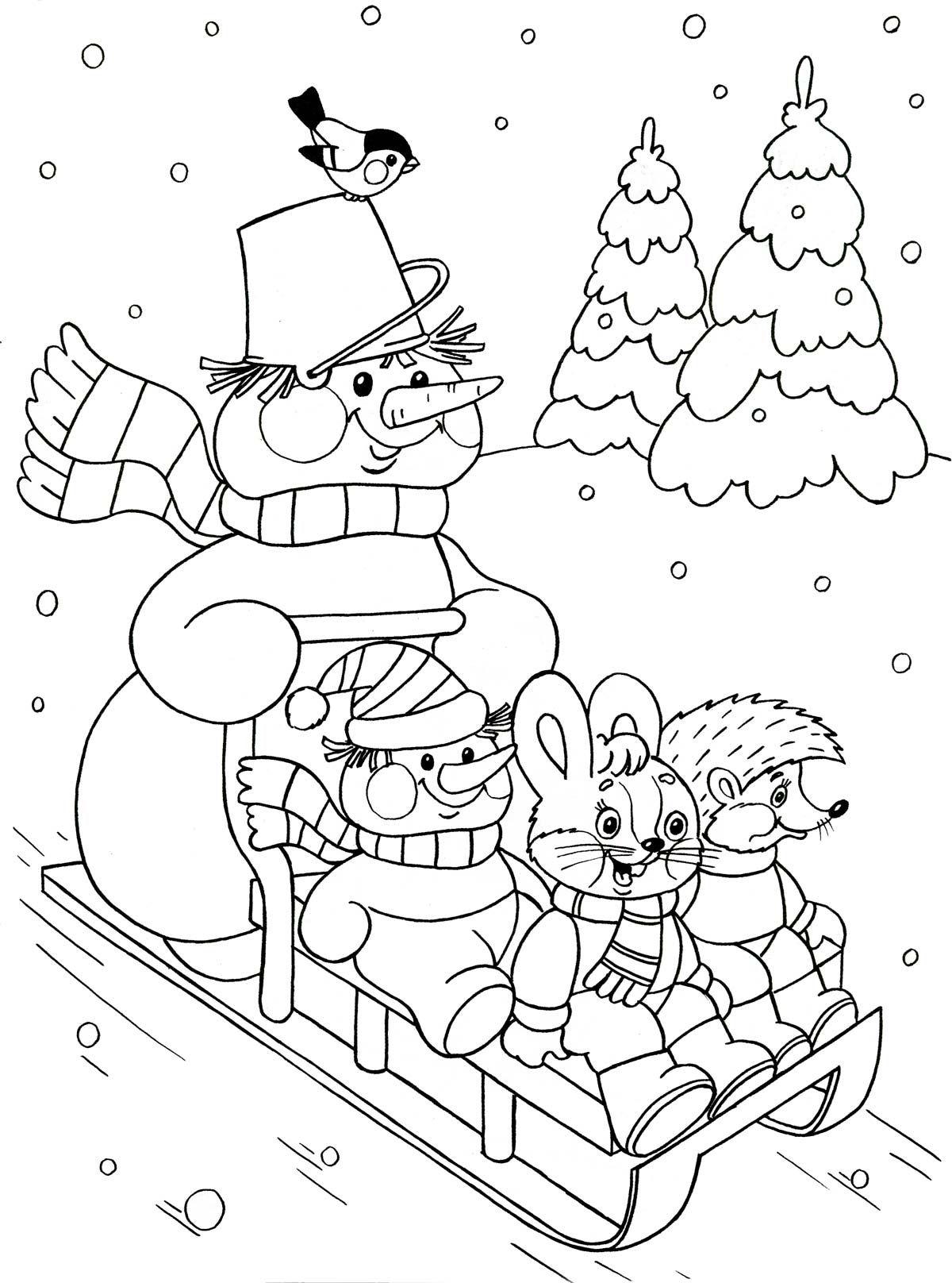Kleurplaten Winter Slee.Kleurplaat Op De Slee Voor Kleuters Winter Kleurplaten