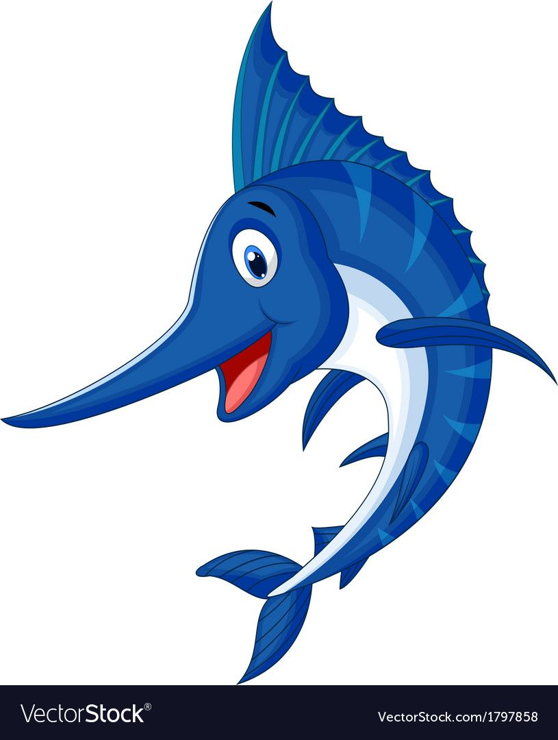 Vector Illustration Of Marlin Fish Cartoon Download A Free Preview Or High Quality Adobe Illustrator Ai Eps Pdf And High Resolution Jpeg Versi Katoikidia Zwa