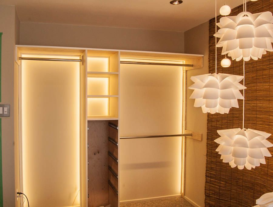 makeshift closet with lights organization in 2019 led closet light closet lighting. Black Bedroom Furniture Sets. Home Design Ideas