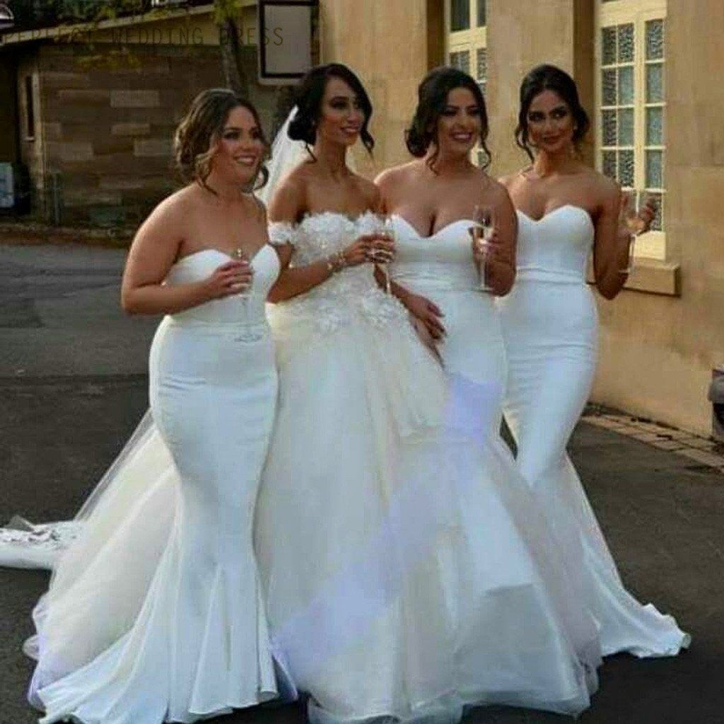 White Satin Cheap Sweet Heart Mermaid Sexy Wedding Party Bridesmaid ...