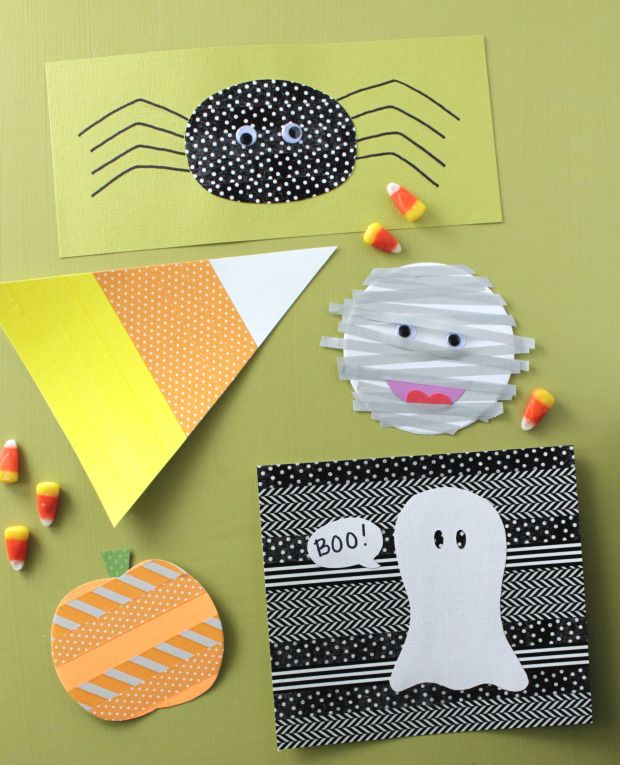 Use washi tape to make spooky Halloween-theme shapes to adorn cards, treat bags, and other frightening crafts.