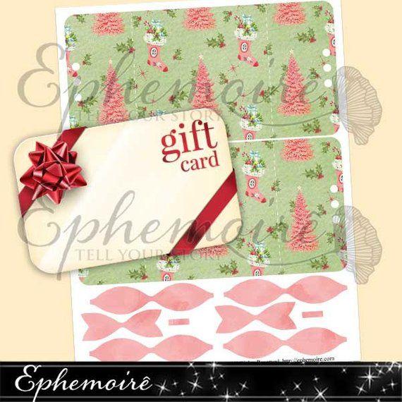 Printable Christmas GIFT CARD Holder - Retro Pink Christmas