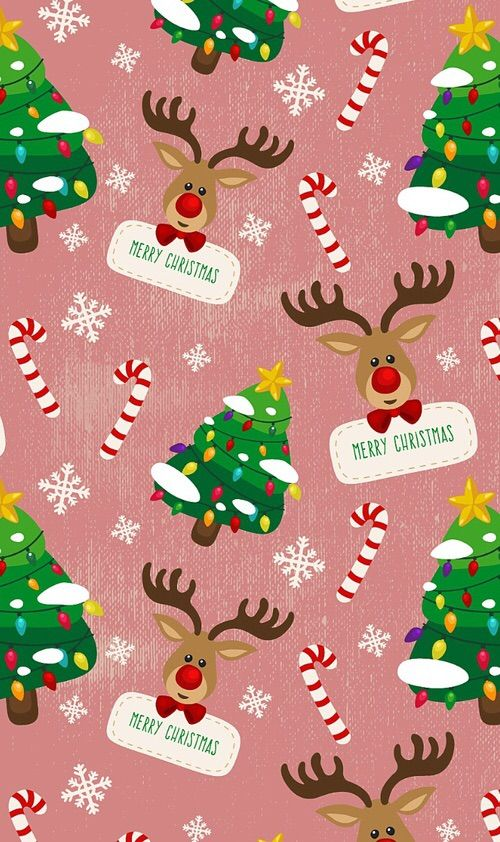 Christmas Backgrounds Cute.Merry Christmas Reindeer Christmas Trees Wallpaper