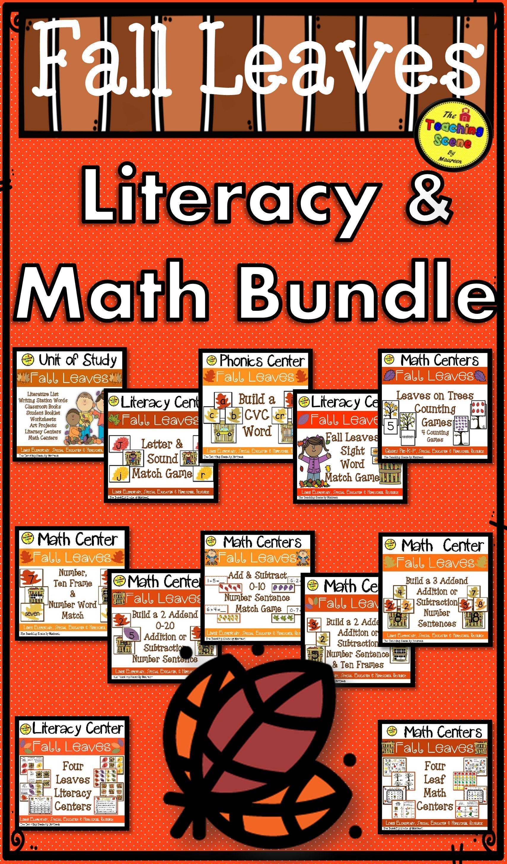 Fall Leaves Themed Literacy Amp Math Bundle