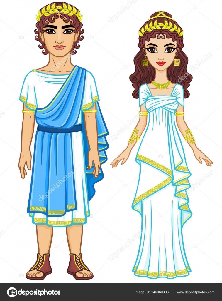 Family In Clothes Of Ancient Greece Anak Animasi