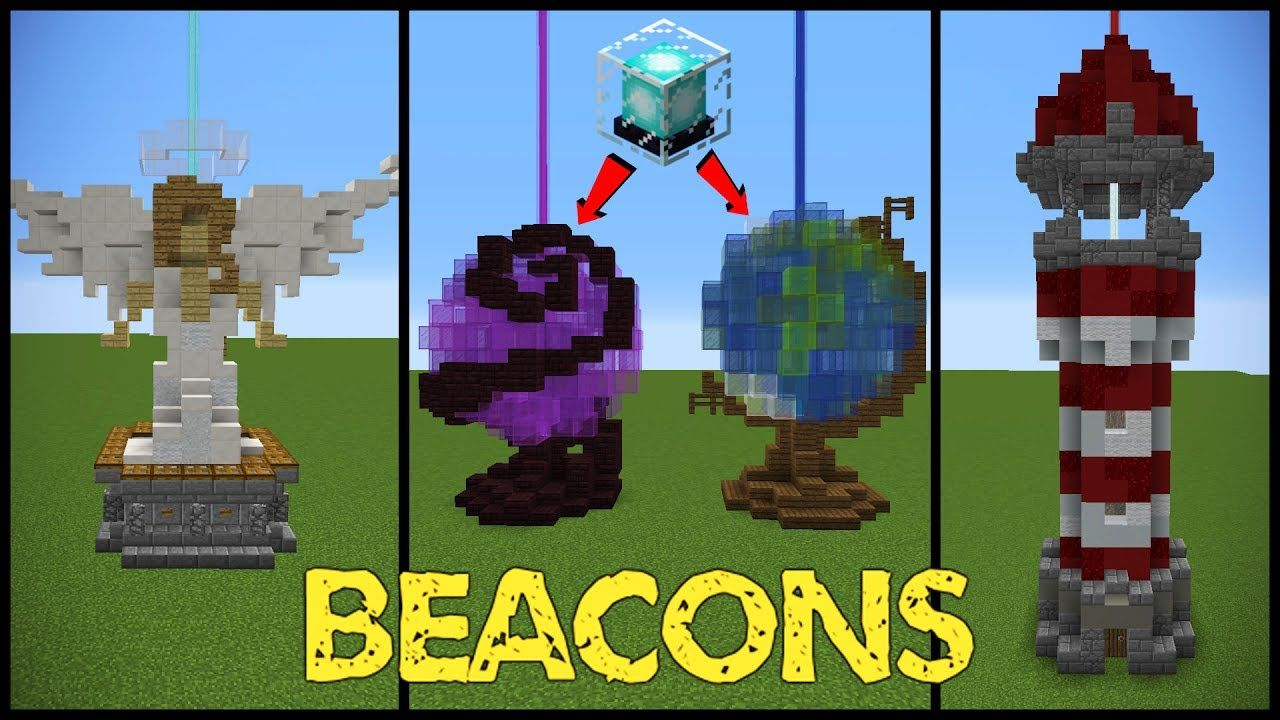 11 Minecraft Beacon Designs Youtube Minecraft Blueprints