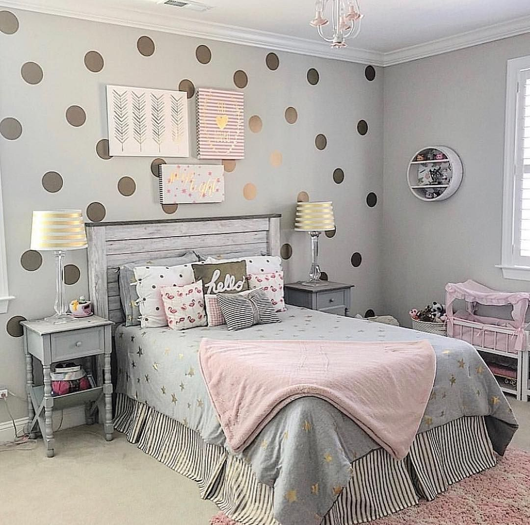 Decor For Kids On Instagram Love The Gray Gold And Pink Color Scheme Credit To Adri Teenage Girl Bedroom Diy Girls Bedroom Colors Girls Bedroom Wallpaper