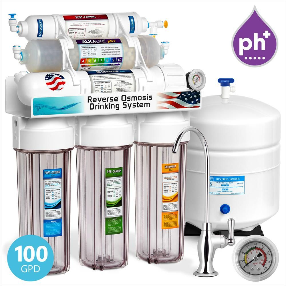 Express Water Alkaline Under Sink Reverse Osmosis Water Filtration System 10 Stage Mineral Filter Ph Antioxidant W Clear Housing Roalk10dcg The Home Dep Osmosis Water Filter Reverse Osmosis Water Filter