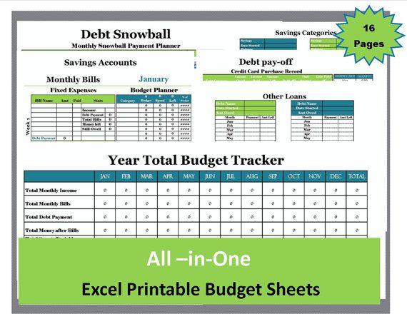 Debt snowball budget planner kit, expense tracker, excel spreadsheet