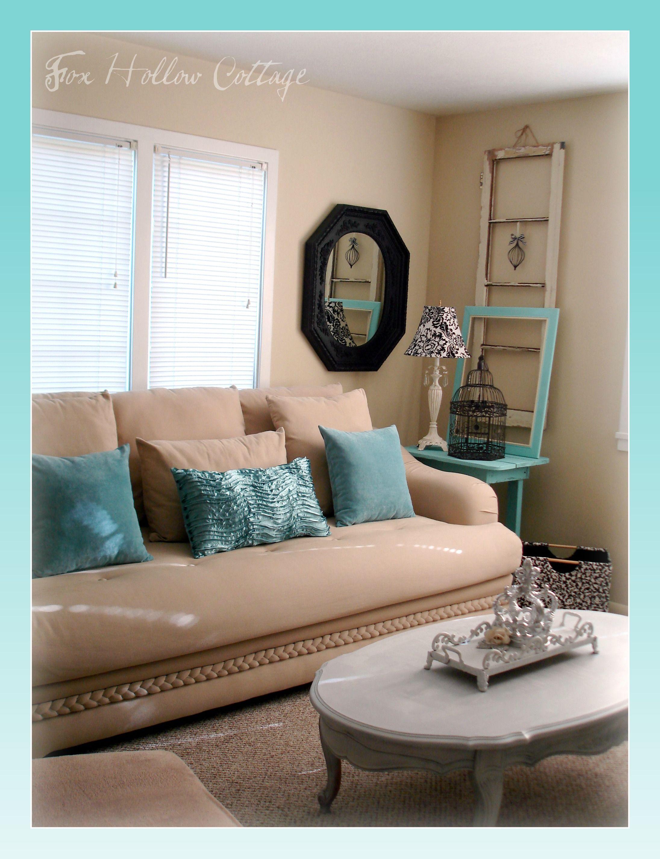 Aqua Black White Tan Living Room Shabby Thrifted Mix Aqua