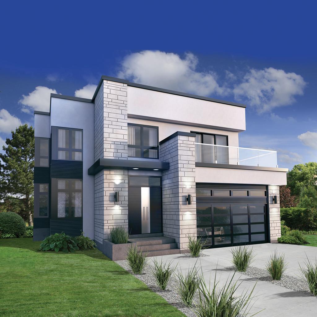 Plano y fachada de casa de dos plantas moderna con 3 for Casa moderna 3 habitaciones