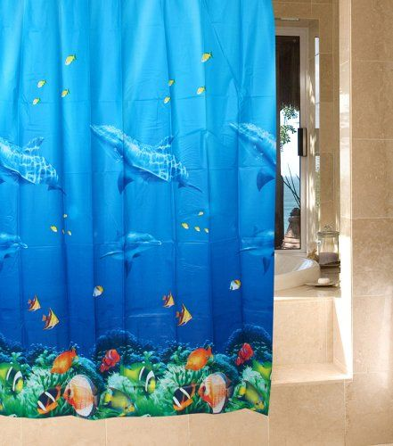 Multicolor Dolphin Pattern Tropical Fish Coral Ocean Theme Bath