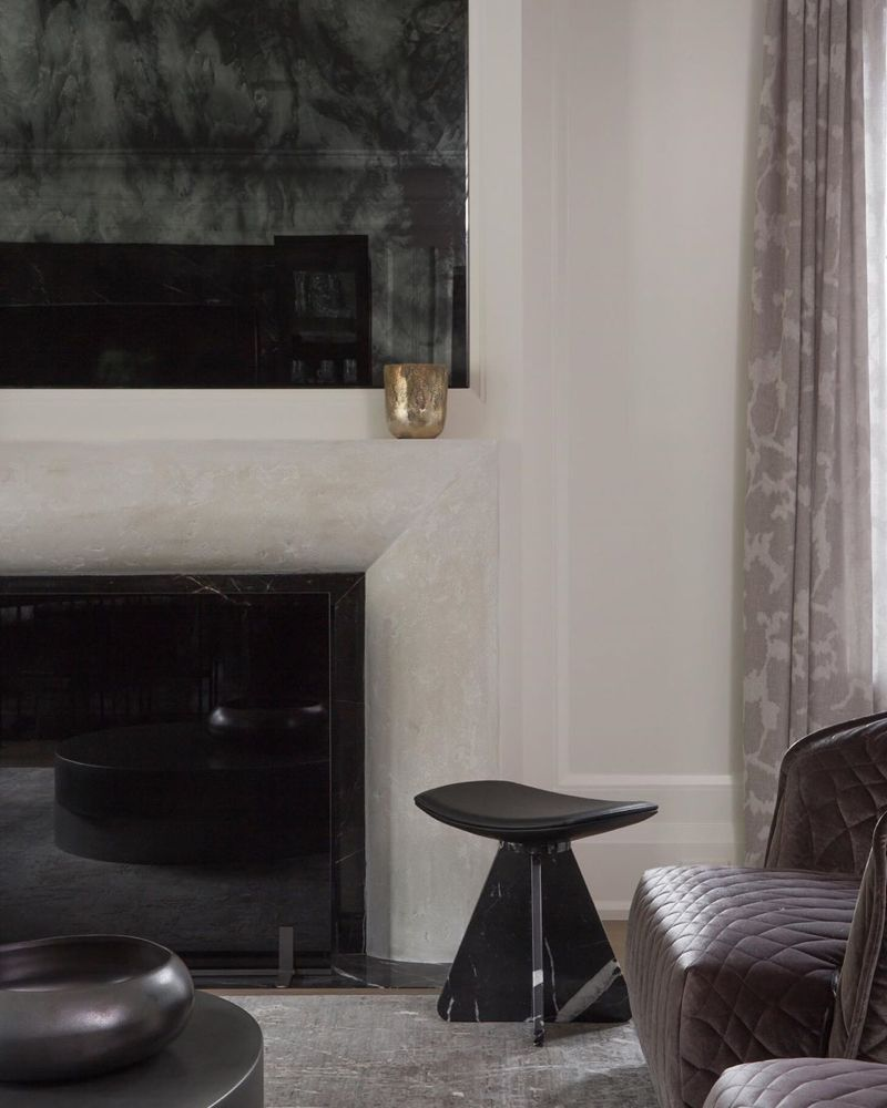 Kim Lambert Design On Instagram Our Work Smokey Curated Composition Custom Fireplace With Smoked Glass Fire Custom Fireplace Smoked Glass Antique Mirror