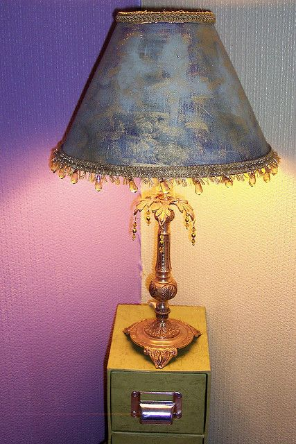 Recycled and recrafted lamp decorating and lights a recycled lamp painted the lampshade and added the beading aloadofball Images