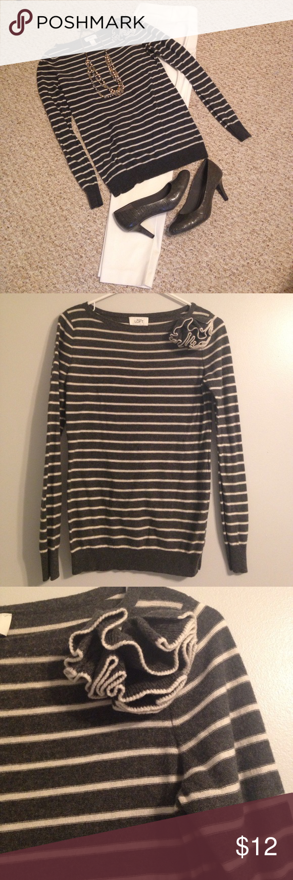 Loft lightweight grey & white sweater | Boat neck, Classy and Loft