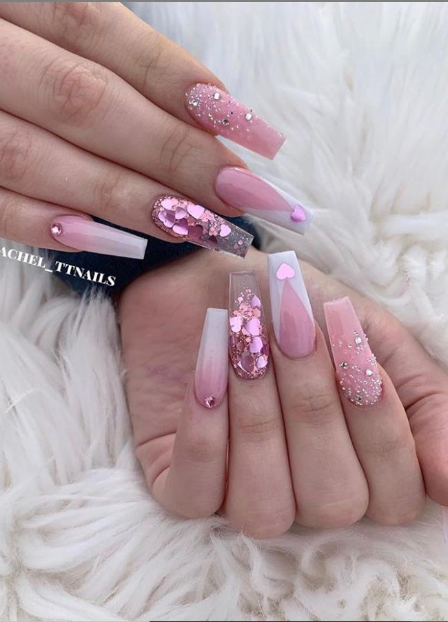 24 Hot Acrylic Pink Coffin Nails Design For Valentine's Nails - Latest Fashion Trends For Woman -