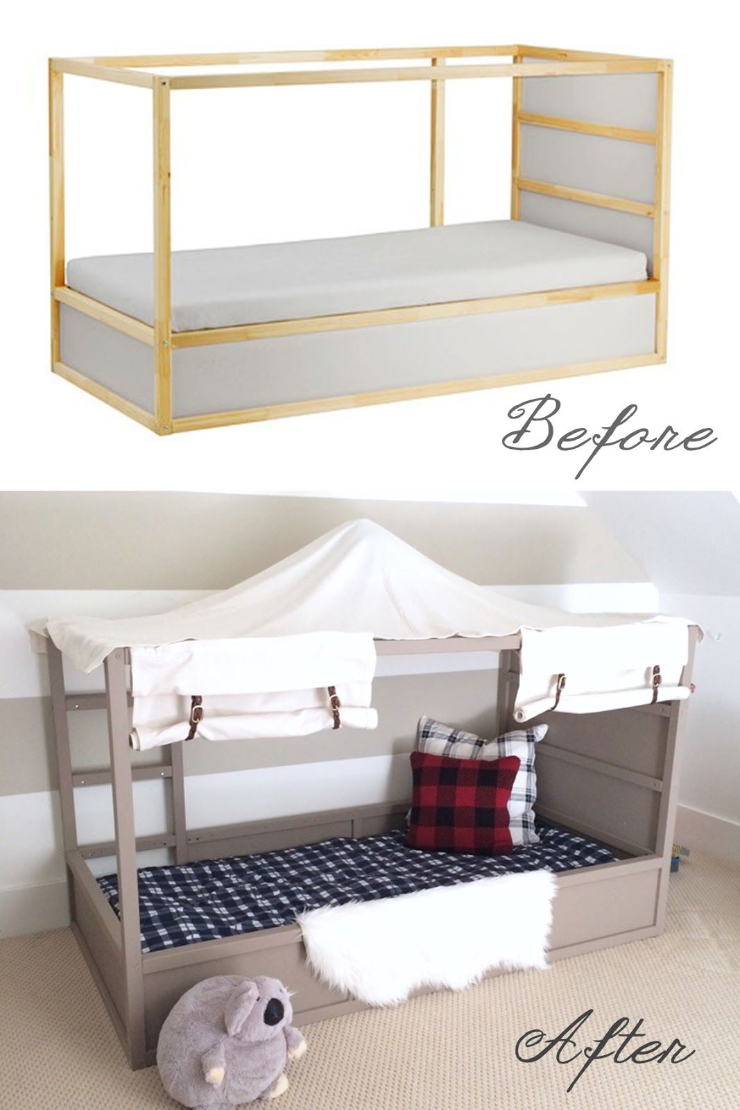 ikea kura bed hack diy boy canopy bed boys room pinterest chambre enfant chambres et lit. Black Bedroom Furniture Sets. Home Design Ideas
