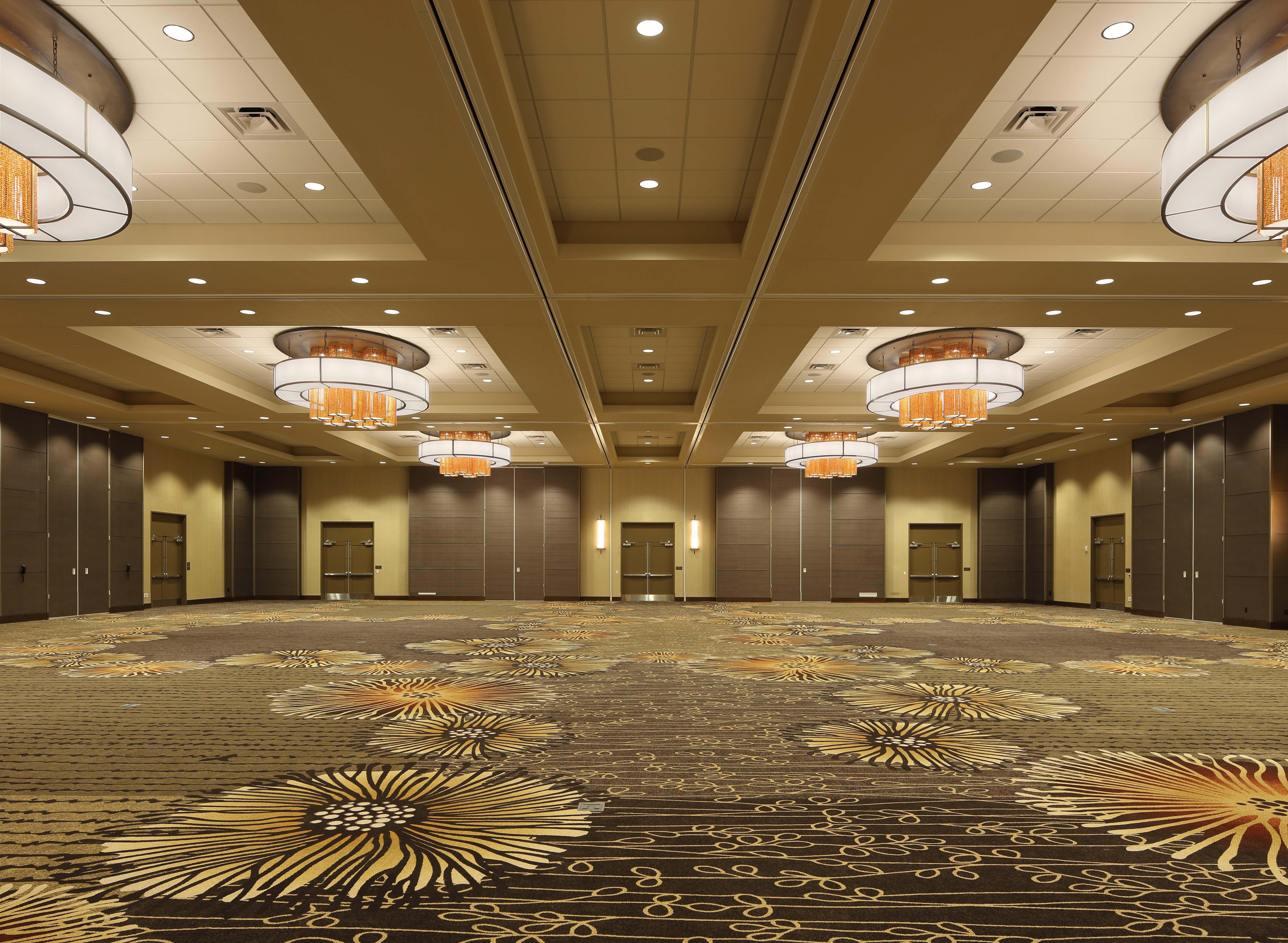 Hotel Ballroom Lighting Amber Crystals Add Pop Of