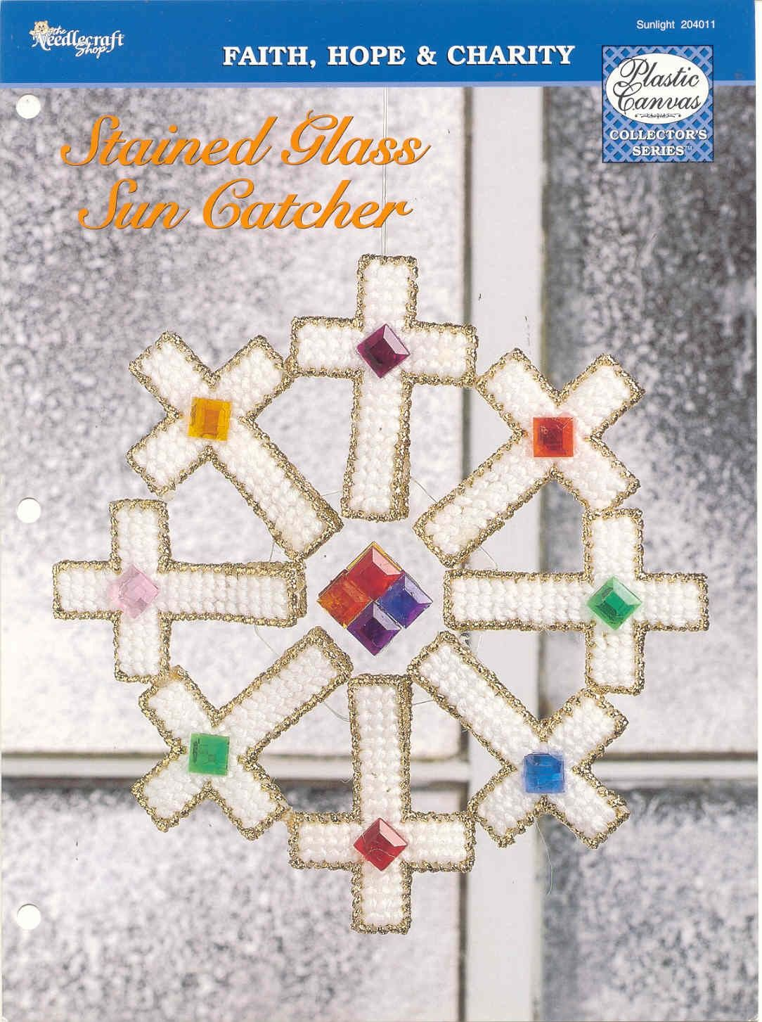 STAINED GLASS SUN CATCHER   plastic canvas pattern. $6.00, via Etsy.
