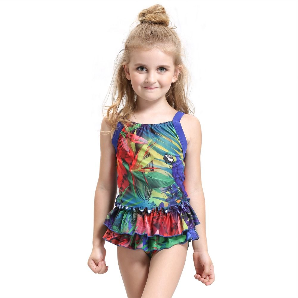 d2405dd520 New Arrival Lovely Girls Parrot Printed One-Piece Swimwear Cute Kids Swimsuit  Lovely Child Bathing Suit Miami ** AliExpress Affiliate's Pin.
