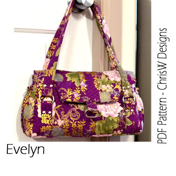 Bag Pattern PDF Sewing Tutorial Evelyn Handbag, Designer Purse ...