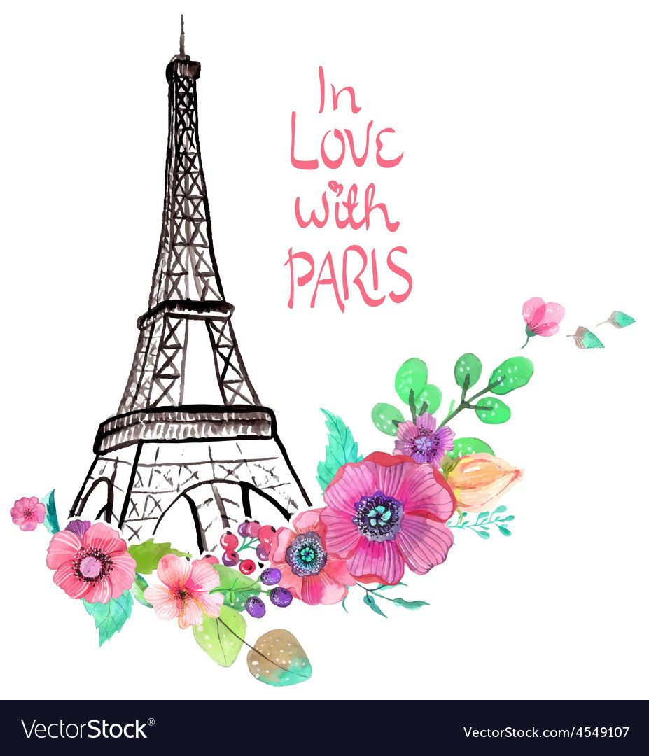 Eiffel Tower With Watercolor Flowers Colorful For Beautiful Design Download A Free Preview Or High Watercolor Flower Vector Paris Canvas Eiffel Tower Drawing