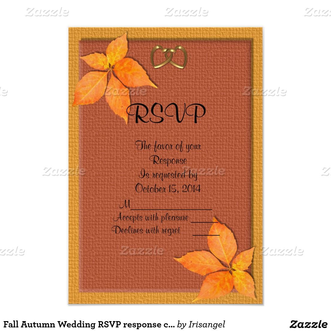Fall Autumn Wedding RSVP response card | Response cards, Wedding ...