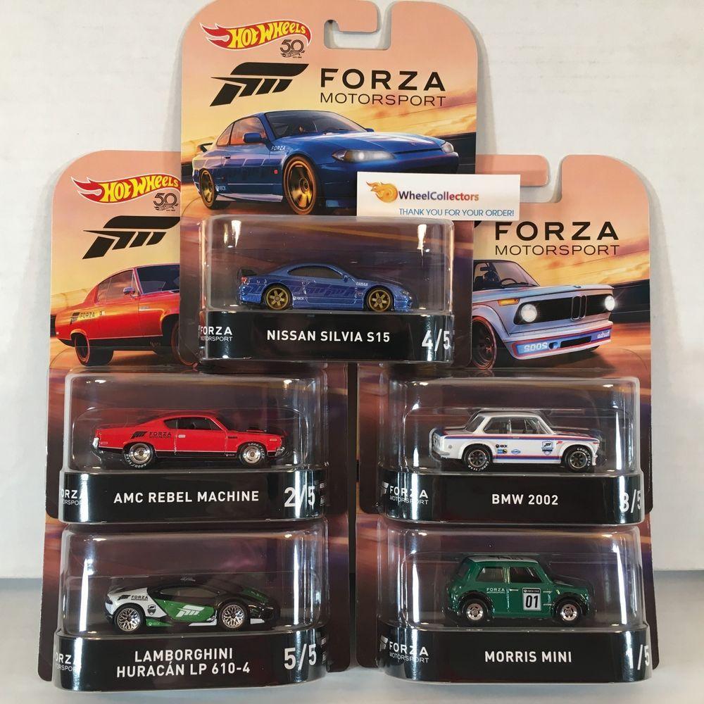 5 Car Set New 2018 Hot Wheels Retro Forza Case J W Silvia In