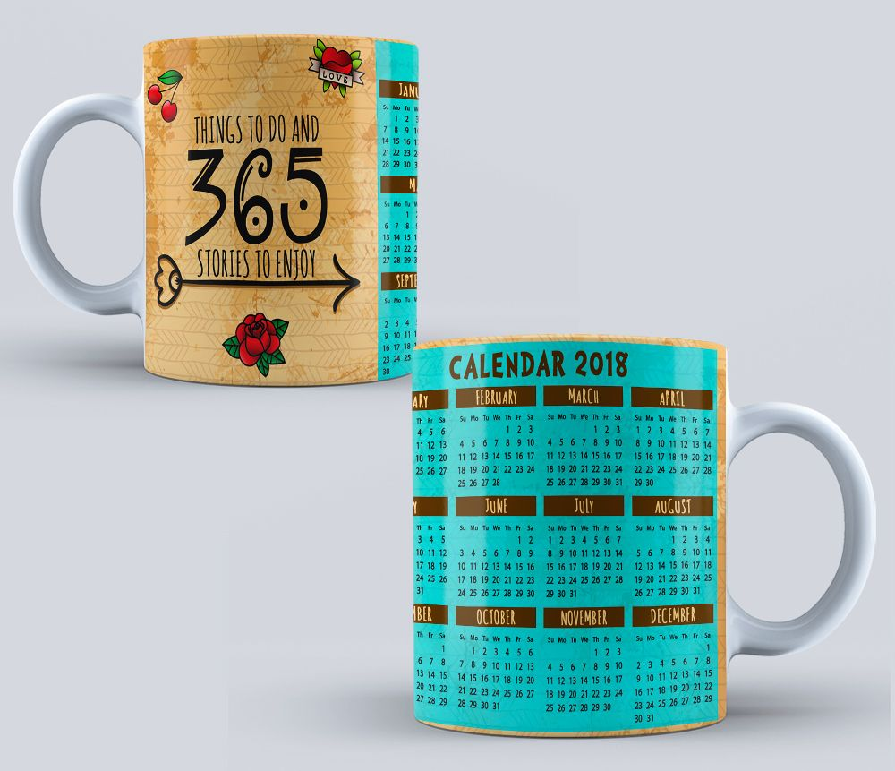 PSD Calendario 2018 - sublimation templates - Calendar for mug ...