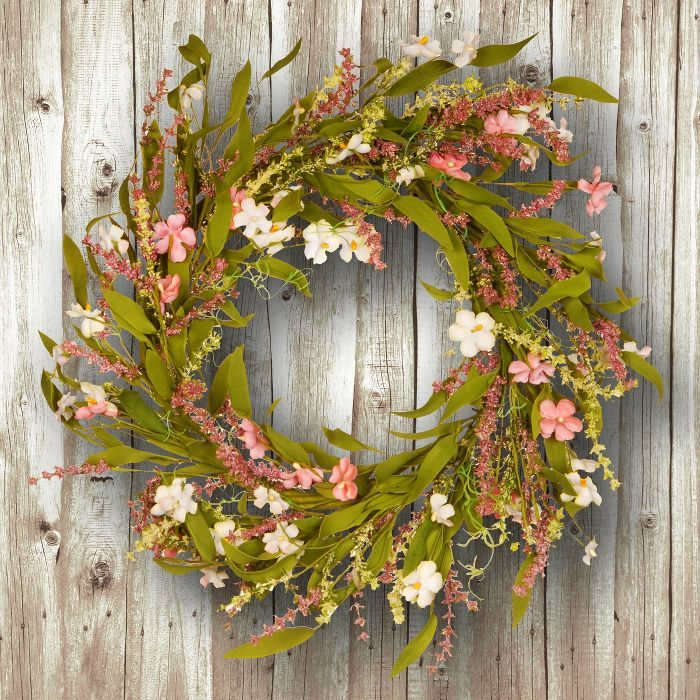 Artificial Spring Wreath Pink 22