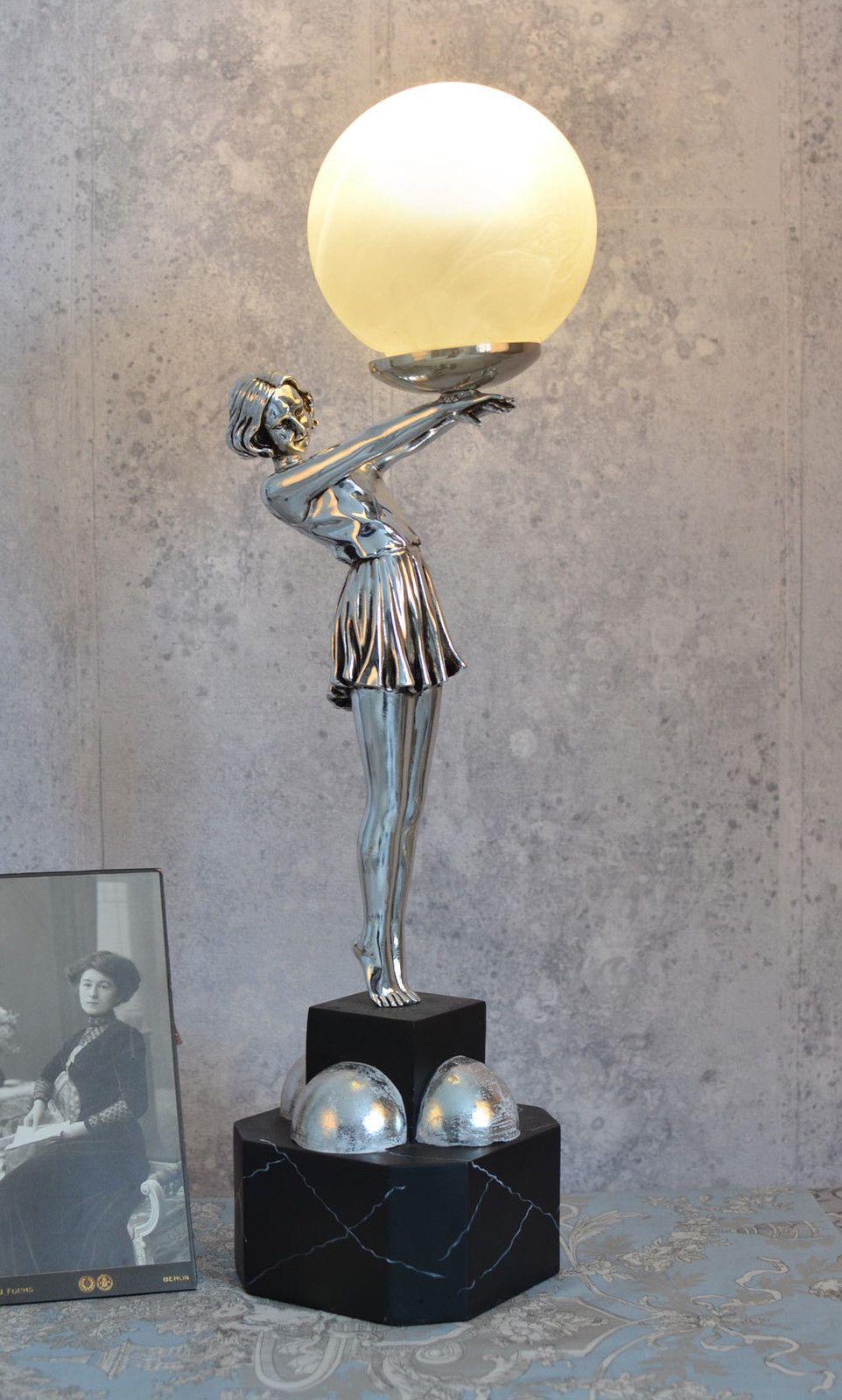 Lampe Art Deco Tischlampe Frauenfigur Silber Tischleuchte Kugelschirm Metropolis Tischleuchte Art Deco Tischlampen