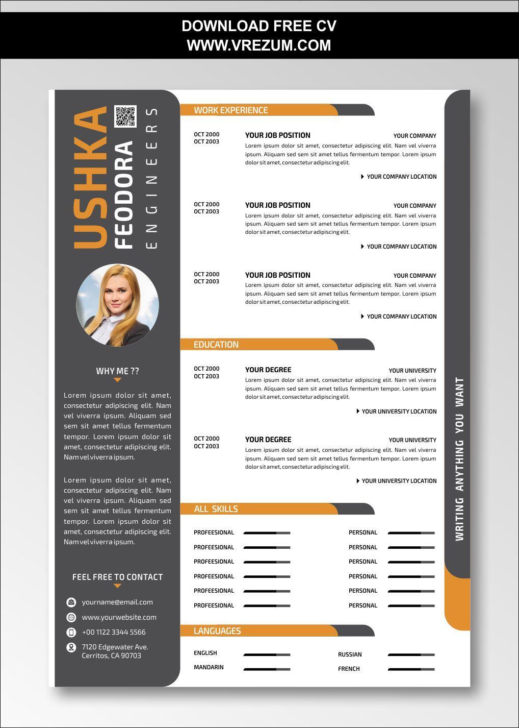 Editable Free Cv Templates For Fresh Graduate Engineer Cv Template Free Cv Template Creative Cv Template Resume template for fresh graduate