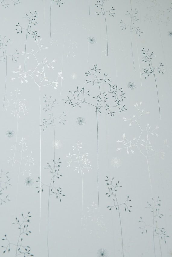 A4 SAMPLE Of Meadow Grass Wallpaper In Blue Silver