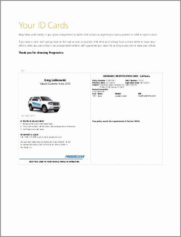 Automobile Insurance Card Template in 2020 (With images ...