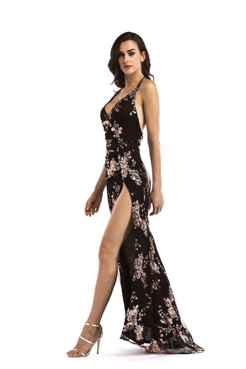 8fe8970f6f This maxi dress features rose gold sequin embellishment, a plunge front and  high front split to show off ...
