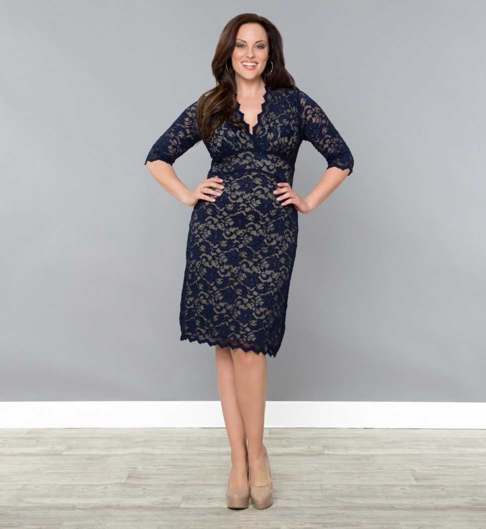 Plus size wedding guest dresses with sleeves   Sleeved Scalloped Boudoir Lace Plus Size Cocktail Dress by