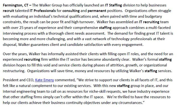 Excerpt from Press Release announcing new service division dedicated