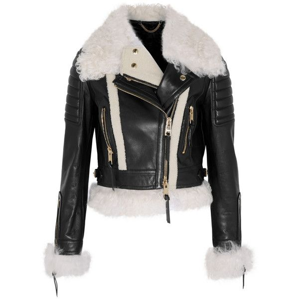 Burberry Prorsum Cropped shearling-trimmed leather biker jacket ($5,300) ❤ liked on Polyvore